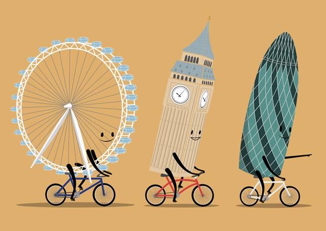 London on Bike Illustration