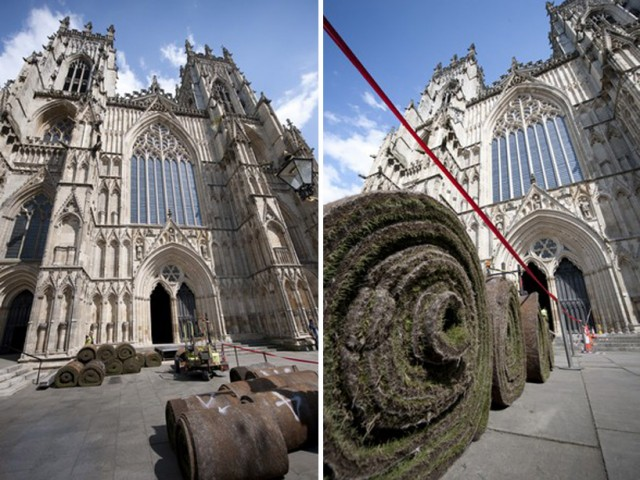 York Minster Grass outside