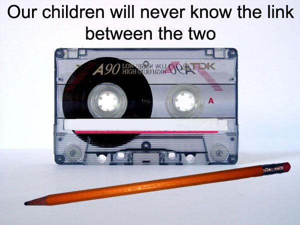 Cassette tape and pen
