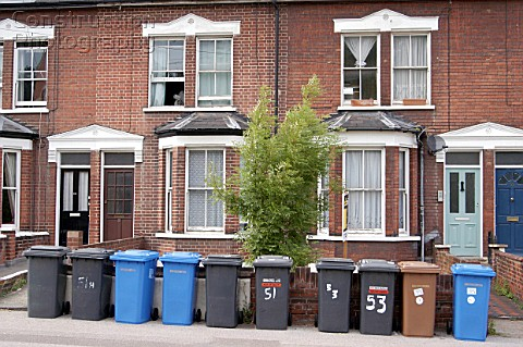 Recycling waste bins and houses