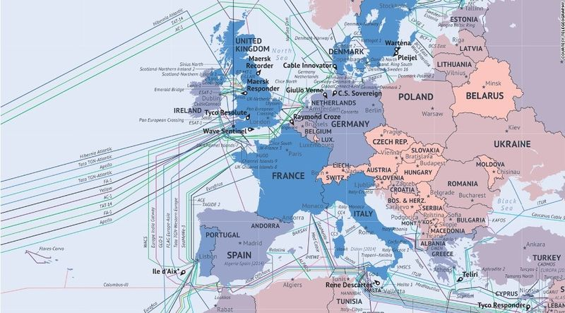 Internet submarine cables map