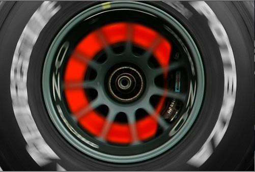 F1 ceramic brakes - red hot