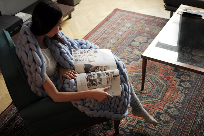 Ohhio knitted merino wool blanket