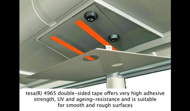 Tesa 4965 strong adhesive tape on plane