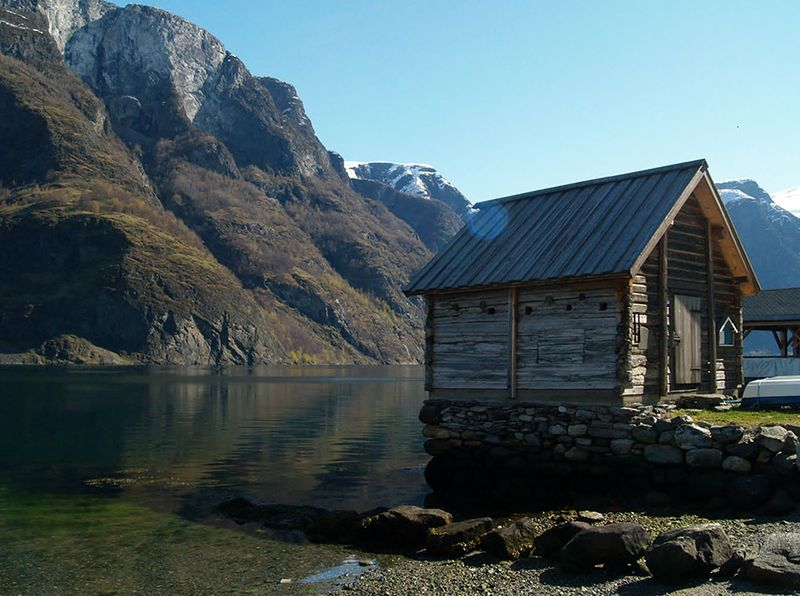 Norway chalet and mountain